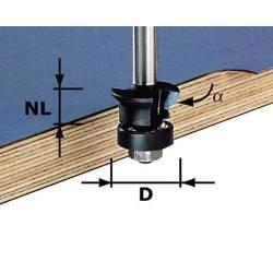 Festool Frez wyrównująco-fazujący z trzpieniem 8 mm HW S8 D24/0 45